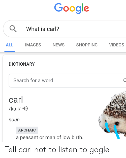 Google Q What Is Carl? ALL IMAGES NEWS SHOPPING VIDEOS DICTIONARY