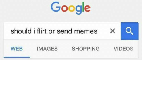 Google, Memes, and Shopping: Google  should i flirt or send memes X C  WEB  IMAGES  SHOPPING  VIDEOS