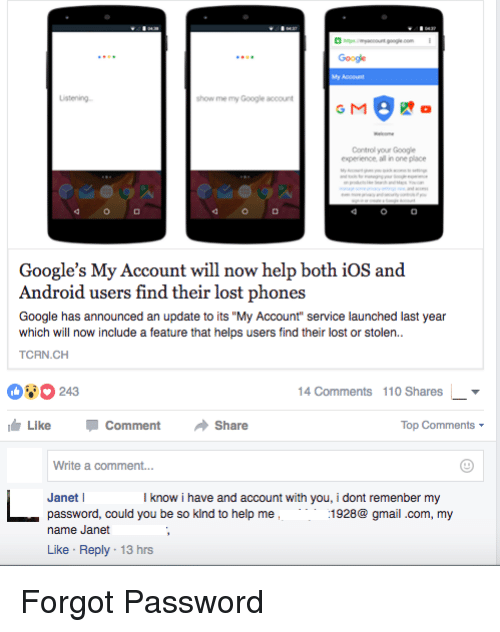 Android, Google, and Phone: Google show me my Google account G M Control your