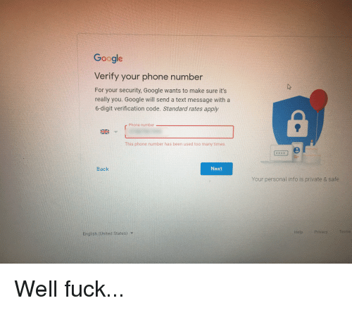 Google Verify Your Phone Number for Your Security Google