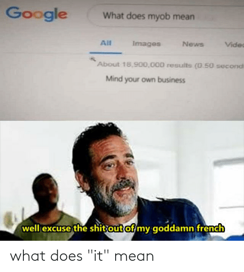 "Google, News, and Reddit: Google  What does myob mean  All  Images  News  Videc  About 18,900,000 results (0.50 seconds  Mind your own business  well excuse the shit out of my goddamn french what does ""it"" mean"