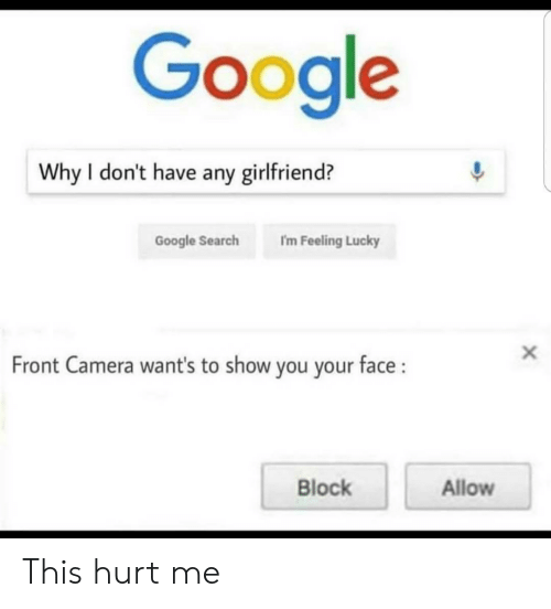 Google, Camera, and Google Search: Google  Why I don't have any girlfriend?  Google Search I'm Feeling Lucky  Front Camera want's to show you your face:  Block  Allow This hurt me