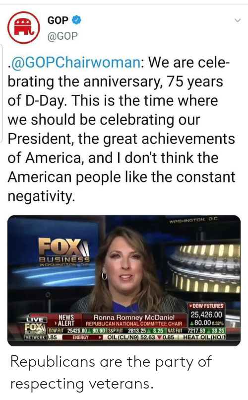 America, Energy, and Nas: GOP  @GOP  @GOPChairwoman: We are cele-  brating the anniversary, 75 years  of D-Day. This is the time where  we should be celebrating our  President, the great achievements  of America, and I don't think the  American people like the constant  negativity  WASHINGTON DC  FOX  BUSINESS  WASHINGTON  DOW FUTURES  25,426.00  REPUBLICAN NATIONAL COMMITTEE CHAIR 80.00 0.32 %  FUXDOW FUT 25426.00 80.00 S&P FUT 2813.25 8.25 NAS FUT 7217.50 38.25  OIL(CL/N9) 52.63 0.85 HEAT OIL(HO  NEWS  ALERT  Ronna Romney McDaniel  LIVE  ENERGY  NETWORK .85 Republicans are the party of respecting veterans.