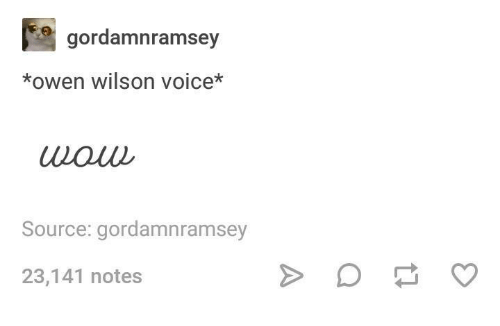 Owen Wilson, Voice, and Humans of Tumblr: gordamnramsey  *owen wilson voice*  wouu  Source: gordamnramsey  23,141 notes