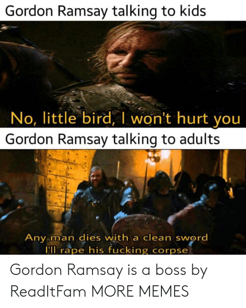 Dank, Fucking, and Gordon Ramsay: Gordon Ramsay talking to kids  No, little bird, I won't hurt you  Gordon Ramsay talking to adults  ny man dies with a clean sword  ll rape his fucking corpse Gordon Ramsay is a boss by ReadItFam MORE MEMES