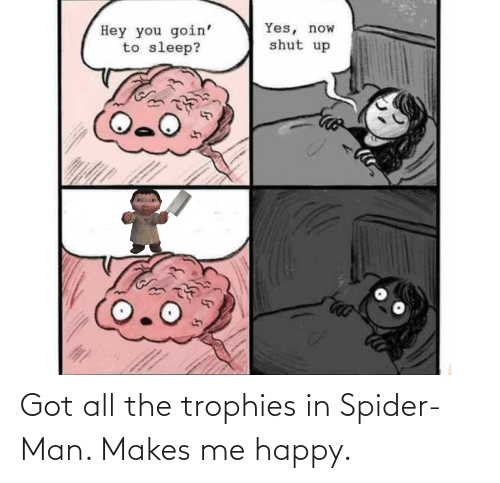 Spider, SpiderMan, and Happy: Got all the trophies in Spider-Man. Makes me happy.