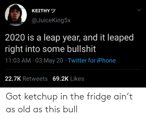 Old, Got, and Fridge: Got ketchup in the fridge ain't as old as this bull