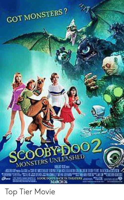 Movie, Got, and Monsters: GOT MONSTERS?  SCOOBY DOO2,  MONSTERS UNLEASHED  MARCH Top Tier Movie