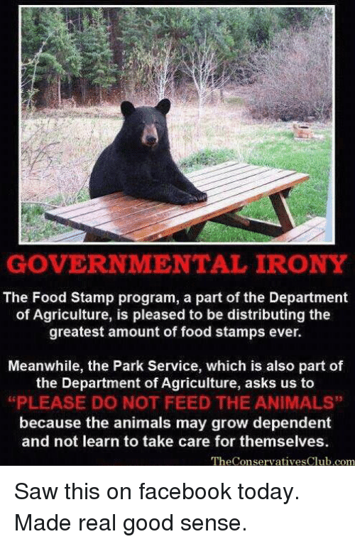 Animals Anime And Facebook GOVERNMENTAL IRONY The Food Stamp Program A Part