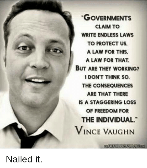 Freedom, Working, and Vince Vaughn: GOVERNMENTS  CLAIM TO  WRITE ENDLESS LAWS  TO PROTECT US.  A LAW FOR THIS.  A LAW FOR THAT.  BUT ARE THEY WORKING?  I DON'T THINK SO.  THE CONSEQUENCES  ARE THAT THERE  IS A STAGGERING LOSS  OF FREEDOM FOR  THE INDIVIDUAL.  VINCE VAUGHN Nailed it.