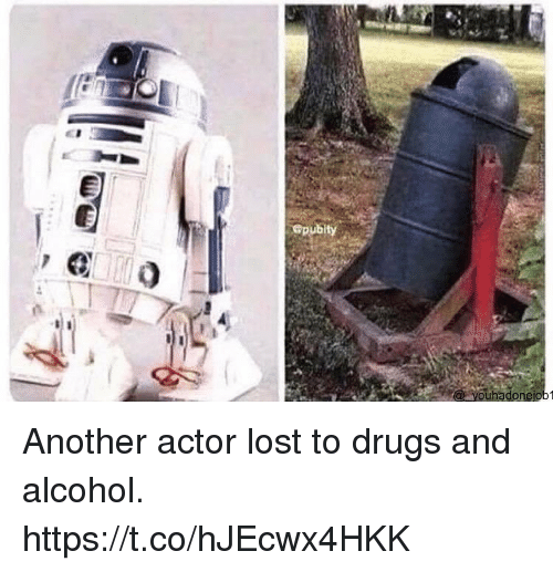 Drugs, Lost, and Alcohol: Gpubity  ouhadonejo Another actor lost to drugs and alcohol. https://t.co/hJEcwx4HKK