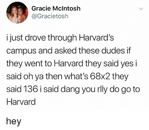 Tumblr, Harvard, and Yes: Gracie Mclntosh  @Gracietosh  i just drove through Harvard's  campus and asked these dudes if  they went to Harvard they said yes i  said oh ya then what's 68x2 they  said 136 i said dang you rlly do go to  Harvard hey