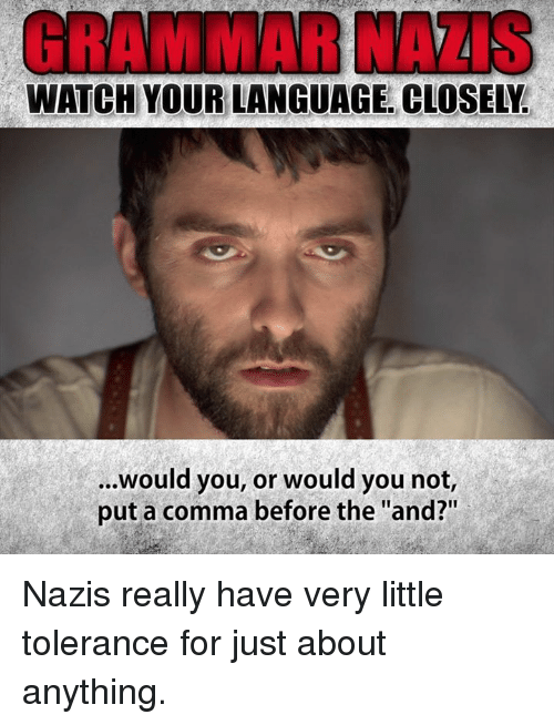 """Memes, Watch, and 🤖: GRAMMAR NAZIS  WATCH YOUR LANGUAGE. CLOSELY.  ...Would you, or would you not,  put a comma before the """"and?"""" Nazis really have very little tolerance for just about anything."""
