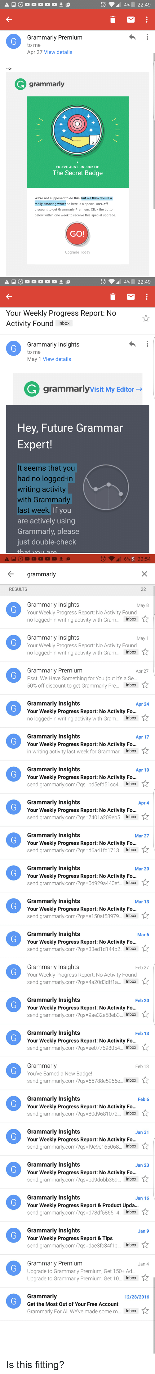Grammarly Premium to Me Apr 27 View Details Grammarly YOU'VE