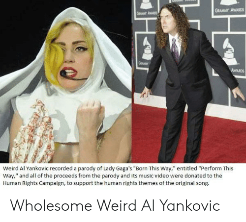 "Grammy Awards, Music, and Weird: GRAMMY AWARDS  Weird Al Yankovic recorded a parody of Lady Gaga's ""Born This Way,"" entitled ""Perform This  Way,"" and all of the proceeds from the parody and its music video were donated to the  Human Rights Campaign, to support the human rights themes of the original song Wholesome Weird Al Yankovic"