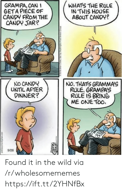 Candy, House, and Wild: GRAMPA, CAN  GETA PIECE OF  CANDY FROM THE  CANDY JAR?  WHATS THE RULE  IN THIS HOUSE  ABOUT CANDY?  NO CANDY  UNTIL AFTER  DINNER?  NO. THATS GRAMMA'S  RULE, GRAMPA'S  RULE IS BRING  ME ONE TOo  9/26  CANE Found it in the wild via /r/wholesomememes https://ift.tt/2YHNfBx