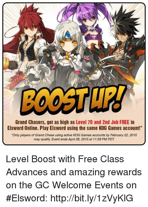 Grand Chasers Get As High Level 70 And 2nd Job FREE In Elsword