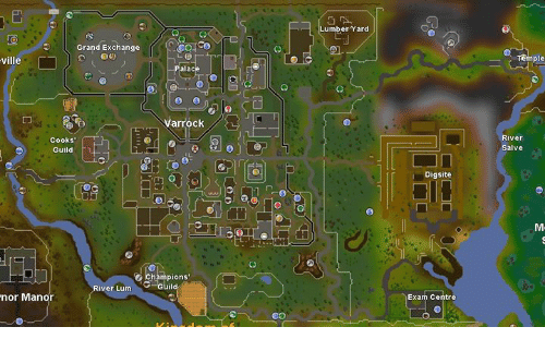Memes, Grand, and 🤖: Grand Exchange ville warrock Cooks Guild champions' ver Lum uild nor Manor Lumber and Dig site Exa Centre River Salve ple