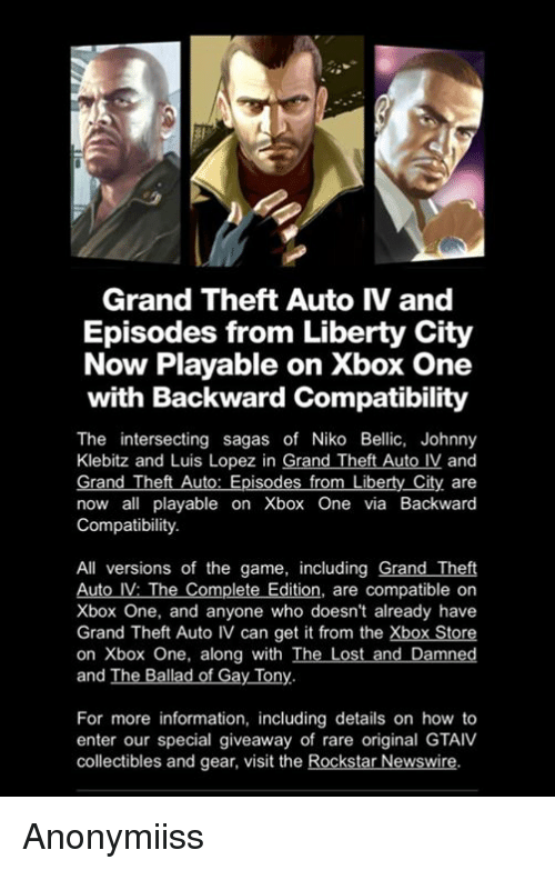 grand theft auto iv and episodes from liberty city now playable on