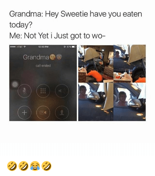 52709e9fea3 Grandma, Call Ended, and Today: Grandma: Hey Sweetie have you eaten today