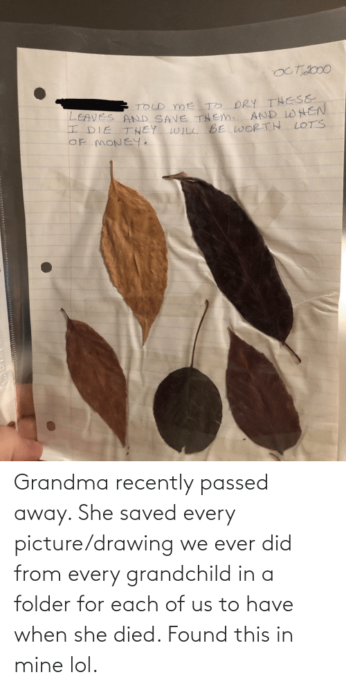 Grandma, Lol, and Mine: Grandma recently passed away. She saved every picture/drawing we ever did from every grandchild in a folder for each of us to have when she died. Found this in mine lol.