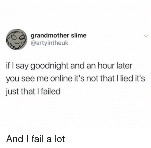Fail, Funny, and Online: grandmother slime  artyintheuk  if I say goodnight and an hour later  you see me online it's not that I lied it's  just that I failed And I fail a lot
