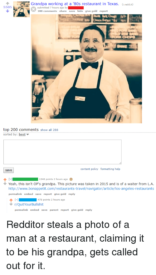 Grandpa Working at a '80s Restaurant in Texas Ireddit 5505