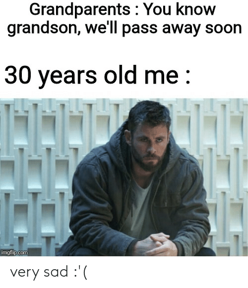 Soon..., Dank Memes, and Old: Grandparents : You know  grandson, we'll pass away soon  30 years old me:  H  imgflip.com very sad :'(