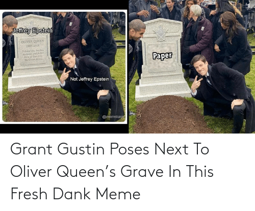 Grant Gustin Poses Next To Oliver Queen S Grave In This Fresh Dank