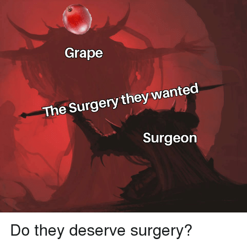 Grape the Surgery They Wanted Surgeon | Reddit Meme on ME ME