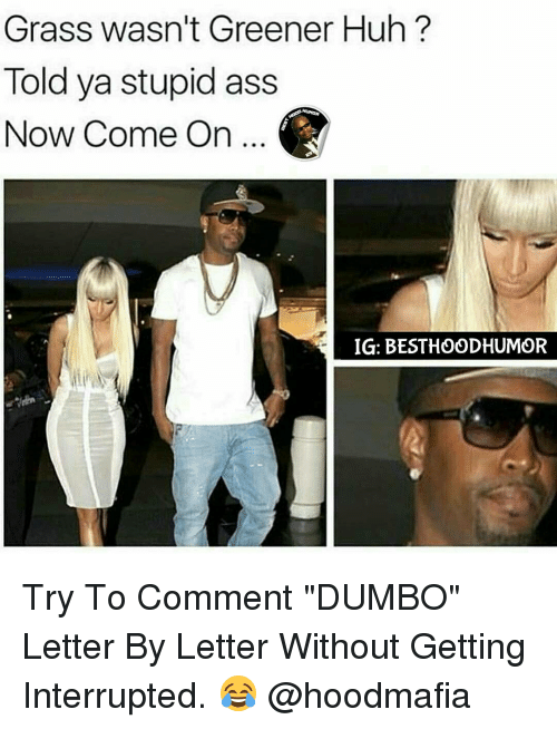 "Huh, Memes, and Dumbo: Grass wasn't Greener Huh?  Told ya stupid ass  Now Come on...  IG: BESTHOODHUMOR Try To Comment ""DUMBO"" Letter By Letter Without Getting Interrupted. 😂 @hoodmafia"