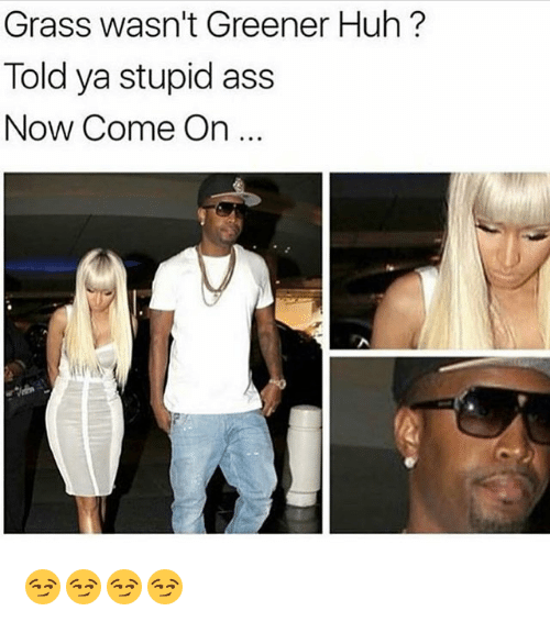 Huh, Memes, and 🤖: Grass wasn't Greener Huh?  Told ya stupid ass  Now Come On 😏😏😏😏