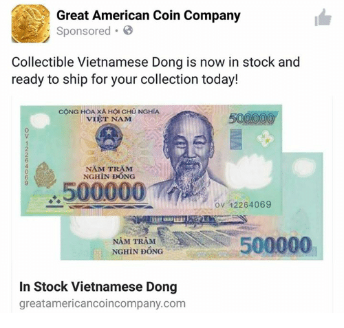 American Stocks And Today Great Coin Company Sponsored Collectible Vietnamese Dong Is