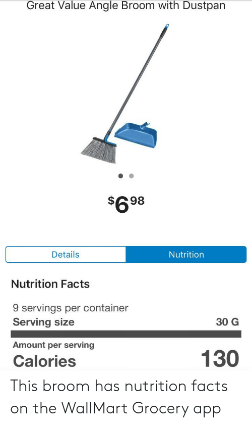 Great Value Angle Broom With Dustpan $698 Details Nutrition