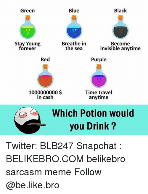 Be Like, Meme, and Memes: Green  Blue  Black  Stay Young  forever  Breathe in  the sea  Become  Invisible anytime  Red  Purple  1000000000$  in cash  Time travel  anytime  Which Potion would  you Drink ? Twitter: BLB247 Snapchat : BELIKEBRO.COM belikebro sarcasm meme Follow @be.like.bro