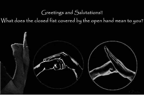 Greetings and salutations what does the closed fist covered by the memes what does and greetings and salutations what does the m4hsunfo