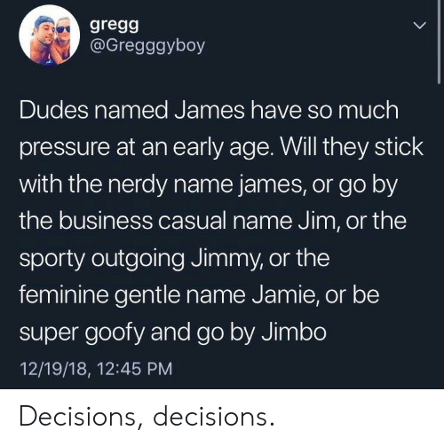 Pressure, Business, and Business Casual: gregg  @Gregggyboy  Dudes named James have so much  pressure at an early age. Will they stick  with the nerdy name james, or go by  the business casual name Jim, or the  sporty outgoing Jimmy, or the  feminine gentle name Jamie, or be  super goofy and go by Jimbo  12/19/18, 12:45 PM Decisions, decisions.