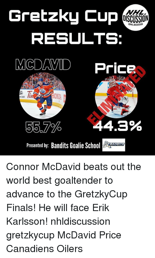 Anaconda, Finals, and Memes: Gretzky Cup  DISCUSSION  ONHL DISCUSSION  RESULTS:  MCDAVID Price  OND  m/100  55.7%  44.3%  Presented by: Bandits Goalie H  EANDITS Connor McDavid beats out the world best goaltender to advance to the GretzkyCup Finals! He will face Erik Karlsson! nhldiscussion gretzkycup McDavid Price Canadiens Oilers