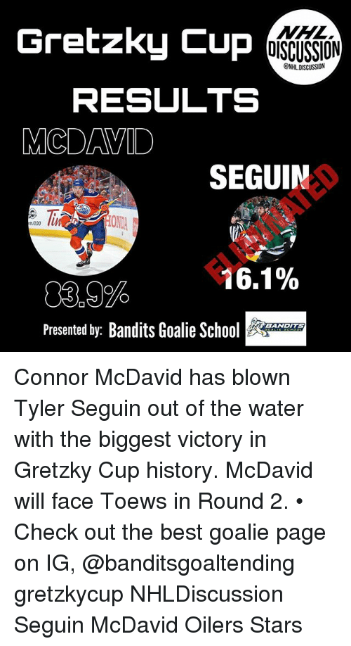 Anaconda, Memes, and Best: Gretzky Cup  MML  DISCUSSION  NHLDISCUSSION  RESULTS  MCDAVID  SEGUIN  3.00  OND  m/100  16.1%  03,9%  Presented by: Bandits Goalie SAN  BANDITS Connor McDavid has blown Tyler Seguin out of the water with the biggest victory in Gretzky Cup history. McDavid will face Toews in Round 2. • Check out the best goalie page on IG, @banditsgoaltending gretzkycup NHLDiscussion Seguin McDavid Oilers Stars