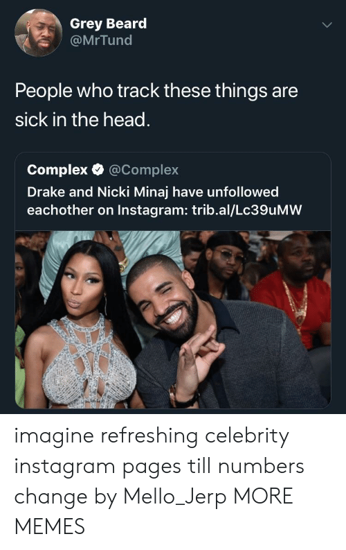 Beard, Complex, and Dank: Grey Beard  @MrTund  People who track these things are  sick in the head.  Complex·@Complex  Drake and Nicki Minaj have unfollowed  eachother on Instagram: trib.al/Lc39uMW imagine refreshing celebrity instagram pages till numbers change by Mello_Jerp MORE MEMES
