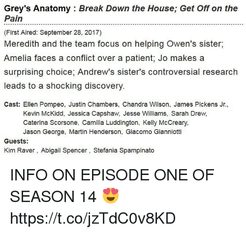 Martin, Memes, and Grey's Anatomy: Grey's Anatomy : Break Down the House; Get Off on the  Pain  (First Aired: September 28, 2017)  Meredith and the team focus on helping Owen's sister,  Amelia faces a conflict over a patient; Jo makes a  surprising choice, Andrew's sister's controversial research  leads to a shocking discovery  Cast: Ellen Pompeo, Justin Chambers, Chandra Wilson, James Pickens Jr.,  Kevin McKidd, Jessica Capshaw, Jesse Williams, Sarah Drew,  Caterina Scorsone, Camilla Luddington, Kelly McCreary  Jason George, Martin Henderson, Giacomo Gianniotti  Guests:  Kim Raver, Abigail Spencer, Stefania Spampinato INFO ON EPISODE ONE OF SEASON 14 😍 https://t.co/jzTdC0v8KD
