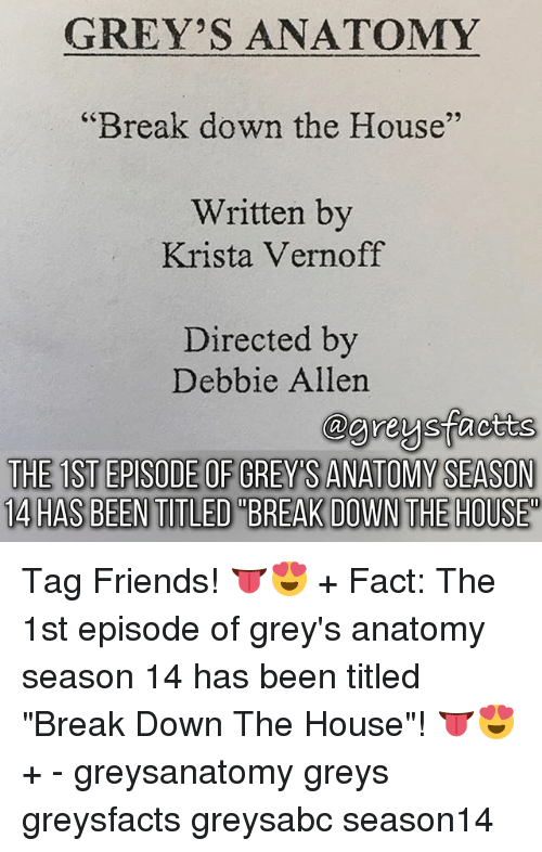 """Friends, Memes, and Grey's Anatomy: GREY'S ANATOMY  Break down the House""""  Written by  29  Krista Vernoff  Directed by  Debbie Allen  THE 1ST EPISODE OF GREY'S ANATOMY SEASON  14 HAS BEENTITLED""""BREAK DOWN THE HOUSE Tag Friends! 👅😍 + Fact: The 1st episode of grey's anatomy season 14 has been titled """"Break Down The House""""! 👅😍 + - greysanatomy greys greysfacts greysabc season14"""