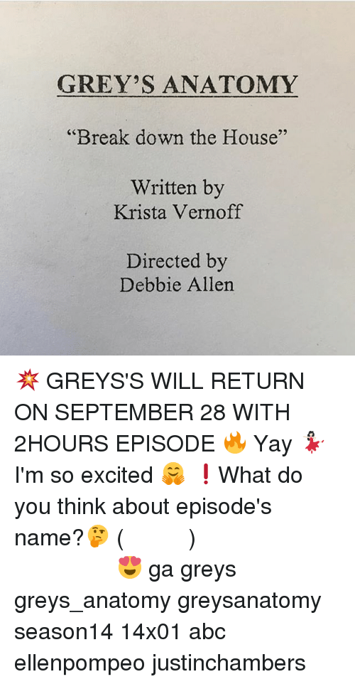 GREY\'S ANATOMY Break Down the House Written by 29 Krista Vernoff ...