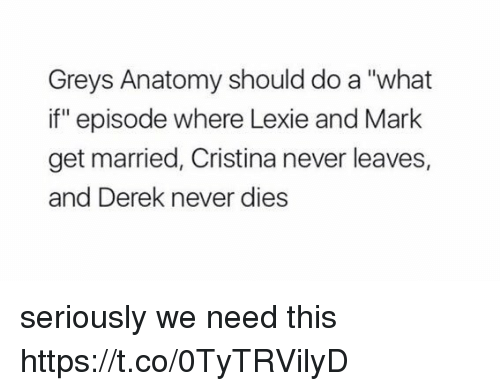 """Memes, Grey's Anatomy, and Never: Greys Anatomy should do a """"what  if"""" episode where Lexie and Mark  get married, Cristina never leaves,  and Derek never dies seriously we need this https://t.co/0TyTRVilyD"""