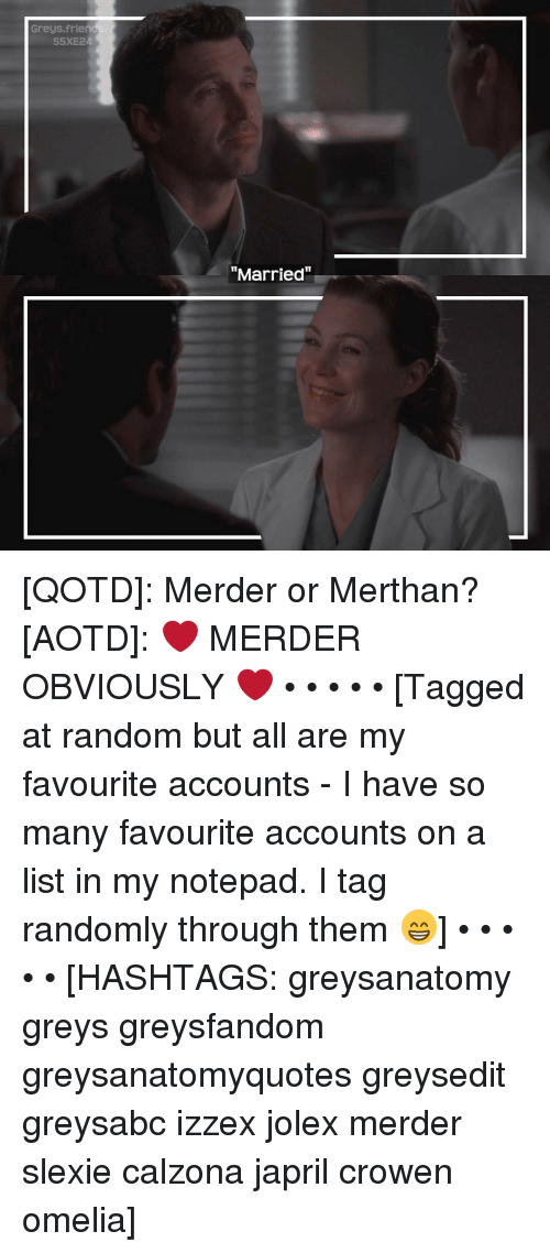 Greys Friend S5XE24 Married QOTD Merder or Merthan? AOTD ❤ MERDER ...