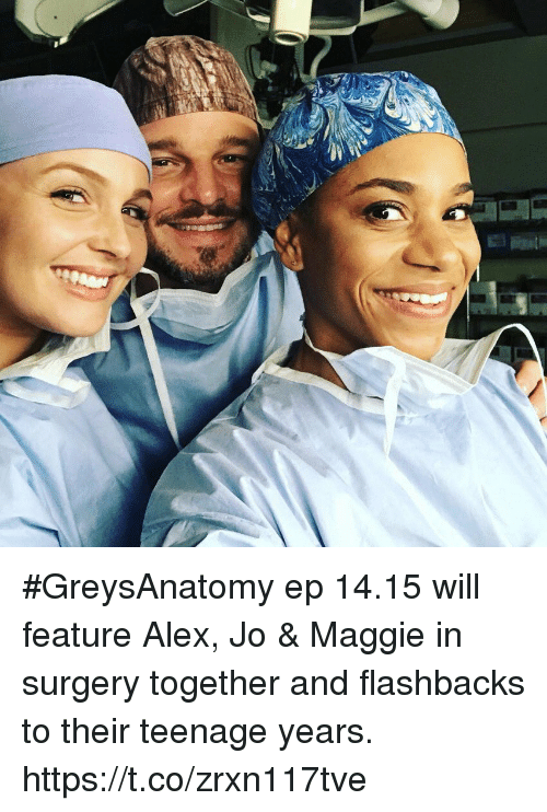 Memes, 🤖, and Amp: #GreysAnatomy ep 14.15 will feature Alex, Jo & Maggie in surgery together and flashbacks to their teenage years. https://t.co/zrxn117tve