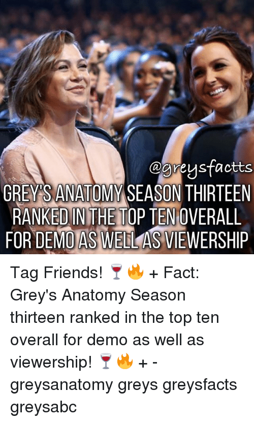 Friends, Memes, and Grey's Anatomy: @Greysfactts  GREY SANATOMY SEASON THIRTEEN  RANKED IN THE TOP TEN OVERALL  FOR DEMO ASWELL AS VIEWERSHIP Tag Friends! 🍷🔥 + Fact: Grey's Anatomy Season thirteen ranked in the top ten overall for demo as well as viewership! 🍷🔥 + - greysanatomy greys greysfacts greysabc