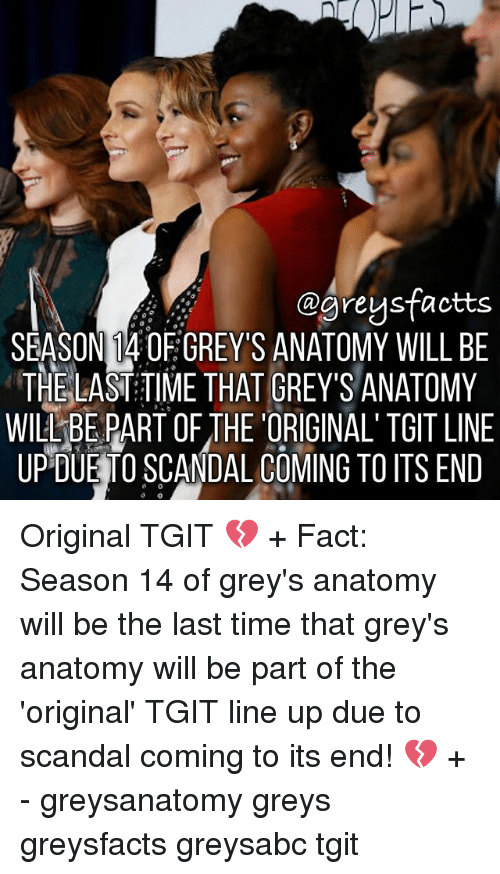 Memes, Grey's Anatomy, and Scandal: @greysfaotts  SEASON 14 OF GREY'S ANATOMY WILL BE  THE LAST:TIME THAT GREY'S ANATOMY  WILL-BE PART OF THE 'ORIGINAL'TGIT LINE  UPDUE TO SCANDAL COMING TO ITS END Original TGIT 💔 + Fact: Season 14 of grey's anatomy will be the last time that grey's anatomy will be part of the 'original' TGIT line up due to scandal coming to its end! 💔 + - greysanatomy greys greysfacts greysabc tgit