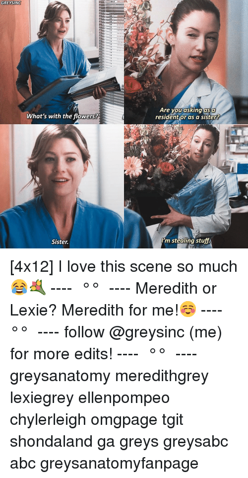 Abc, Love, and Memes: GREYSING  Are you asking as a  resident or as a sister  What's with the flowers?  Sister  I'm stealing stuff. [4x12] I love this scene so much😂💐 ---- ≪ °✾° ≫ ---- Meredith or Lexie? Meredith for me!☺️ ---- ≪ °✾° ≫ ---- follow @greysinc (me) for more edits! ---- ≪ °✾° ≫ ---- greysanatomy meredithgrey lexiegrey ellenpompeo chylerleigh omgpage tgit shondaland ga greys greysabc abc greysanatomyfanpage