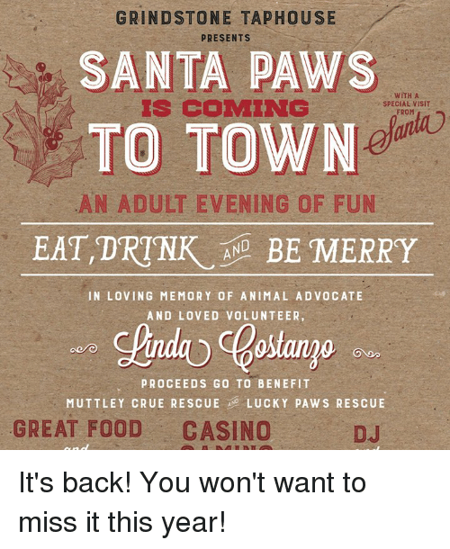 GRINDSTONE TAPHOUSE PRESENTS SANTA PAWS WITH a SPECIAL VISIT